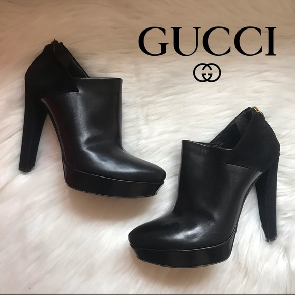 Gucci Shoes - Authentic GUCCI Logo Suede & Leather Ankle Booties